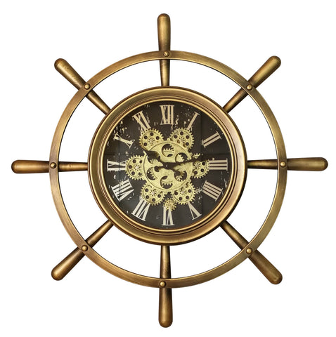Golden Boat Wheel 68 Cm Roman Numeral Gear Moving Wall Clock
