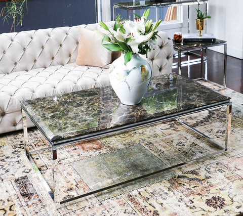 Hemin Polished  Stainless Steel  Coffee Table  With  Marble Top(Price Reduced)