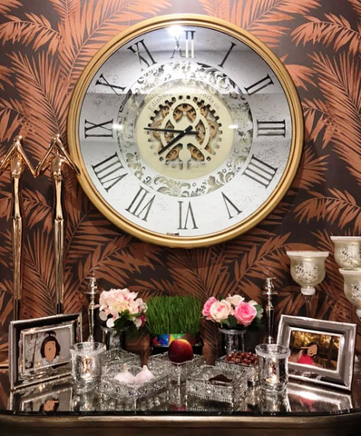 X Large 80 Cm Edinburgh Mirror Moving Gear Wall Clock