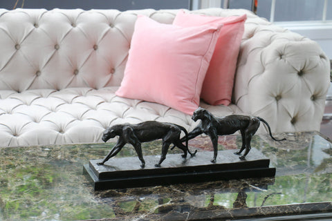 Two Wild Cat Bronze And Marble Sculpture Deco