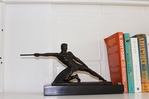 Bronze Sculpture Of  Athlete Spear Thrower + Book Holder