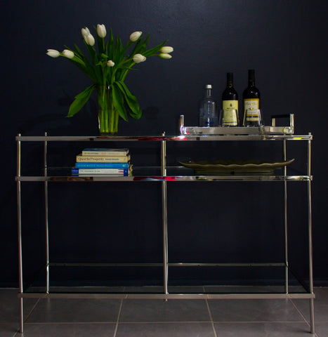 Zarin Mirror Pollished Stainless Steel Console With Multilevel Tempered Glass