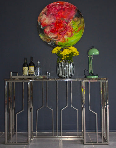 Veda Stainless Steel Console With  Marble Top (sold out)