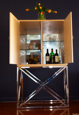 Square Oak Drinking Cabinet With Crossed Mirror Stainless Steel Legs