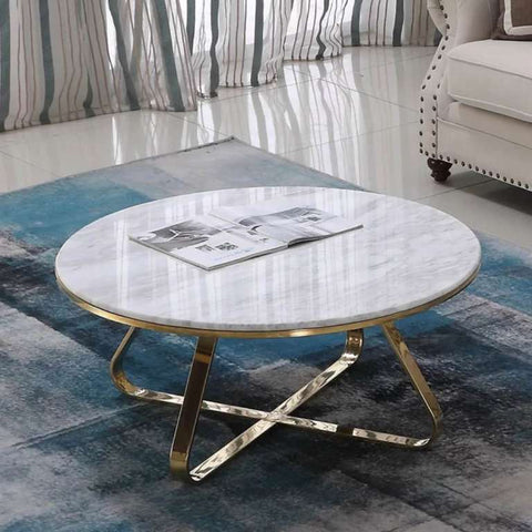 Roza Mirror Pollished Stainless Steel Or Gold Coffee Table With White Marble Top