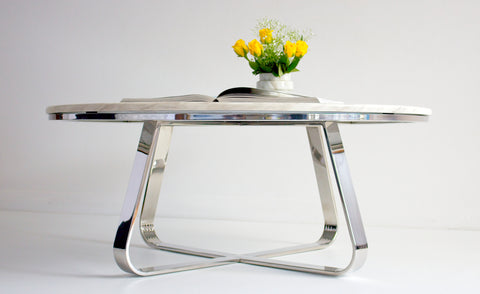 Roza Polished Stainless Steel Coffee Table With White Marble Top