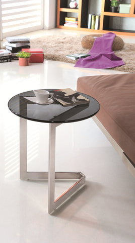 Dora Pollished Stainless Steel End Table with Black tempered Glass.