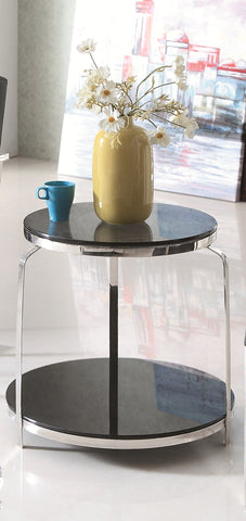 Coni Pollished Stainless Steel Side Table With Black Tempered Glass