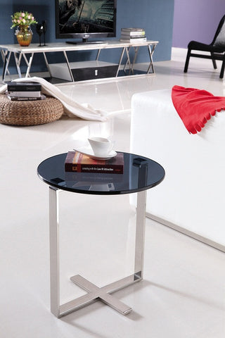 Sari Mirror Pollished Stainless Steel End Table With Black tempered Glass