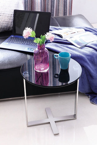 Sari Pollished Stainless Steel End Table With Black tempered Glass (price reduced)