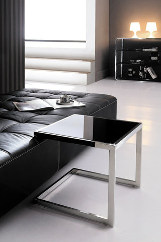 Malie Pollished Stainless Steel Rose Gold Sid Table With Black Tempered Glass.