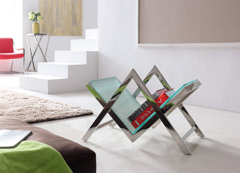 Ezo Polished  Stainless Steel Book Stand With White Glass (Price Reduced)