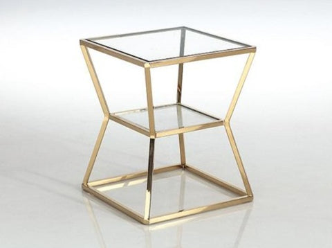 Soma Gold Pollished Stainless Steel Side Table With Clear Tempered Glass