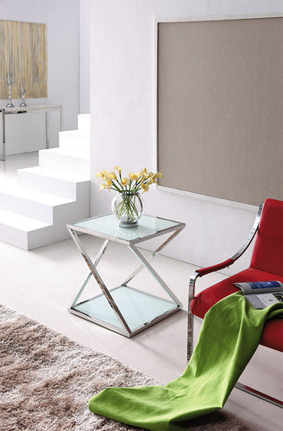 Nela Pollished Stainless Steel Side Table With white Tempered Glass( Two rose gold left)