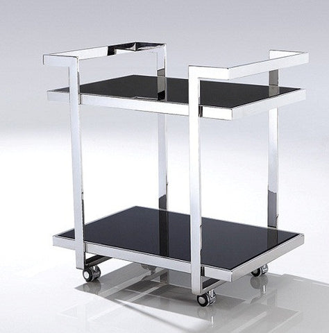 Fyda Polished Stainless Steel Trolley With Black Tempered Glass.