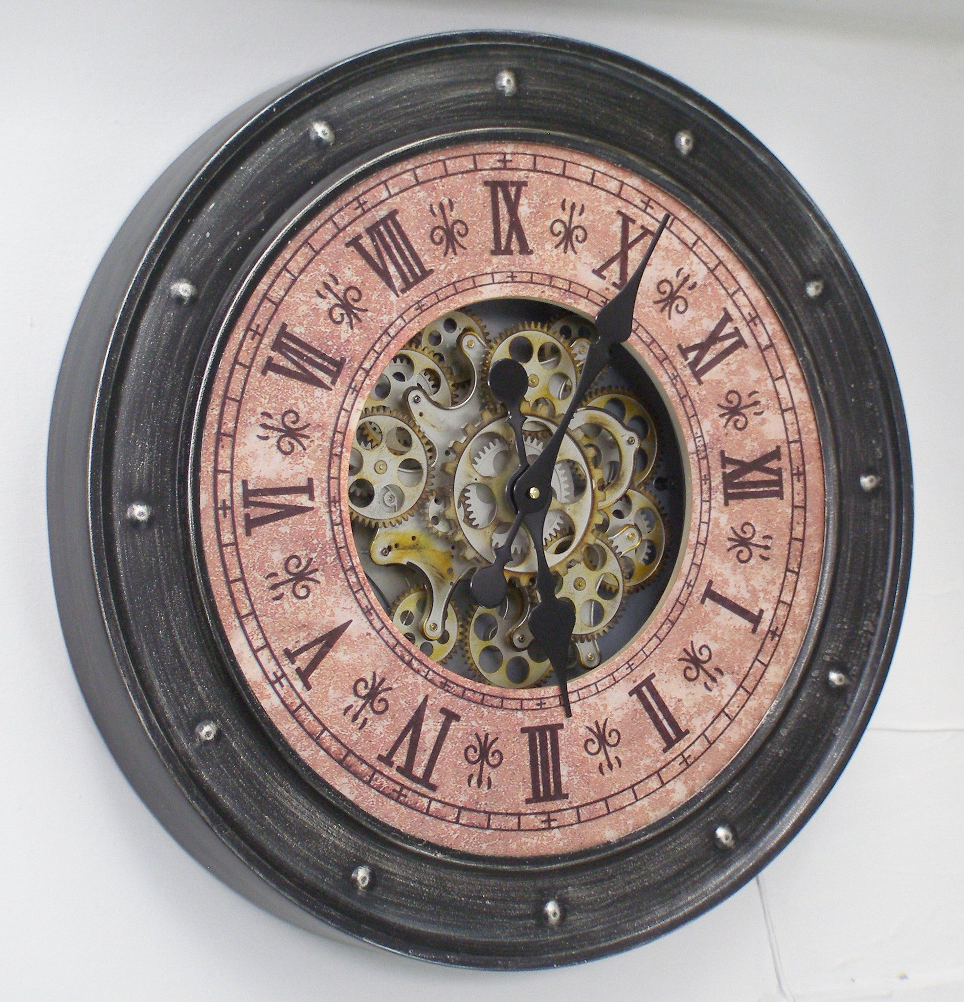 Large 60 Cm Classic Antique Look Metal Wall Clock W