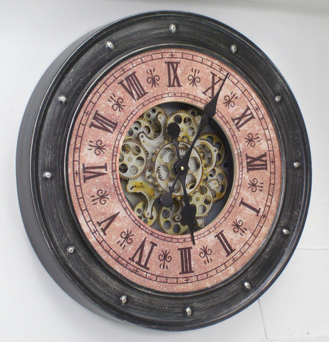 Large 60 Cm Classic Antique Look Metal Wall Clock W/ Exposed Decorative Moving Gears