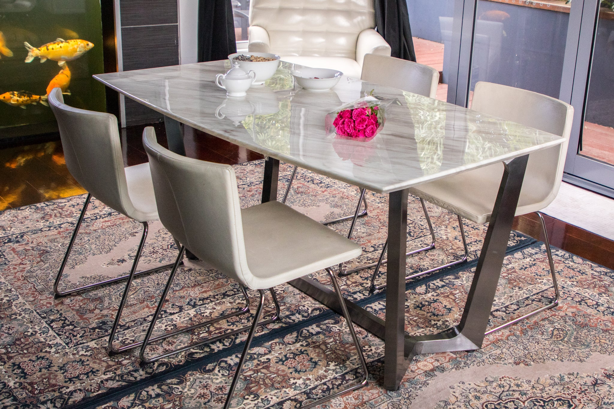 Zilan Pollished Dinning Table With White Marble Top Last One Pick U Trojan Homeware
