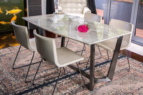 Zilan Polished Dinning Table With white Marble Top( last one , pick up only or delivery to Sydney areas)