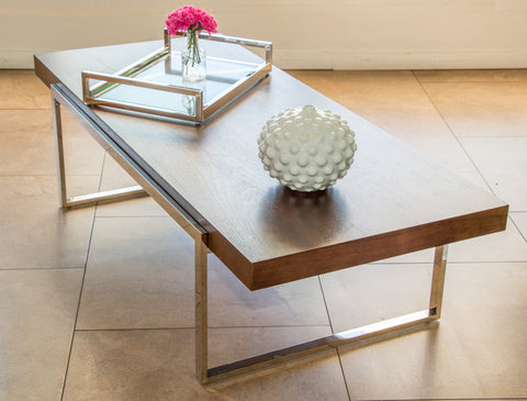Peri  Polished  Stainless Steel  Coffee Table  With  wooden Top (SPECIAL OFFER)