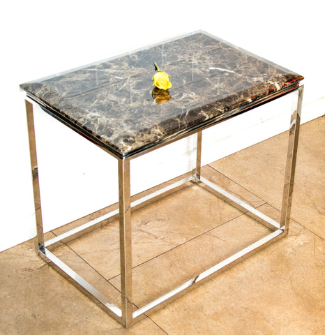 Zivan Pollished  Stainless Steel  Side Table With  Marble Top( Special Offer + Price Reduced)