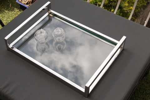 Zeri Mirror Pollished Stainless Steel Tray With With Clear Tempered Glass