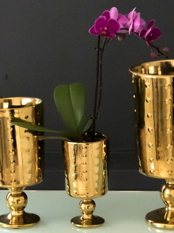 Small Decorative Footed Gold Ceramic Vase
