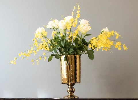 Large Decorative Footed Gold Ceramic Vase