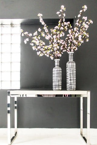 Xtra Tall Handpainted- Vase , Graphic black & white pattern