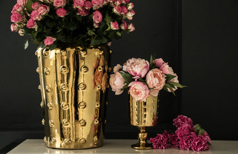 Sunset Gold Studded Ceramic Vase