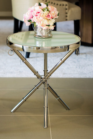 Alaz Polished Stainless Steel SideTable With White Glass Top(comes with a free stunning gear moving wall clock)