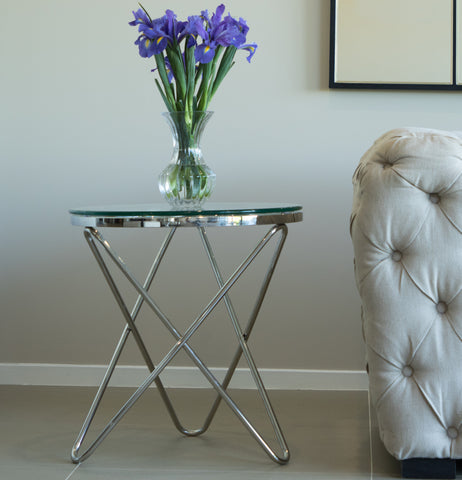 Rona Polished Stainless Steel SideTable With White Or Clear Glass Top (comes with a free stunning gear wall Clock)
