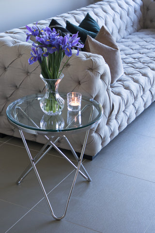 Rona PollishedStainless Steel SideTable With White Or Clear  Glass(Special Offer)