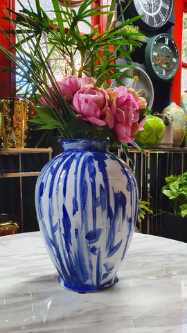 Handpainted Vase: Blue Drips Over White