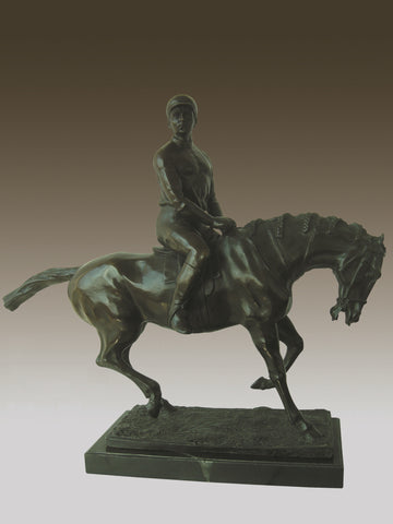 Vintage French Bronze Jockey Horse Sculpture