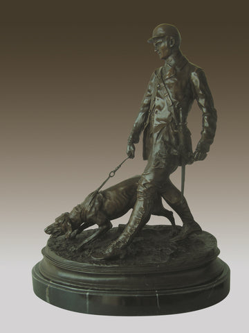 Hunter And Dog Bronze Marble Sculpture Deco (one left)