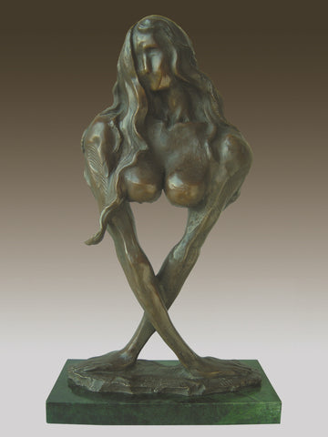 Naked Women Bronze And Marble Sculpture