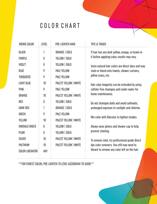 iroiro semi-permanent hair color chart