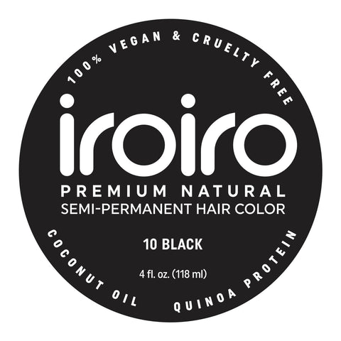 Hair Color - Iroiro 10 Black Natural Vegan Cruelty-Free Semi-Permanent Hair Color