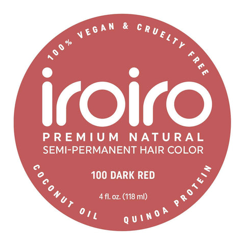 Hair Color - Iroiro 100 Dark Red Natural Vegan Cruelty-Free Semi-Permanent Hair Color