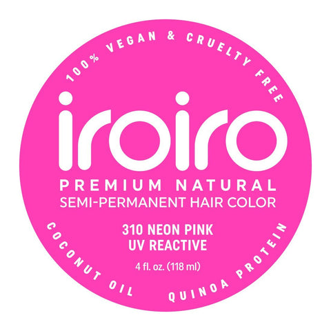 Hair Color - Iroiro 310 UV Reactive Pink Neon Vegan Cruelty-Free Semi-Permanent Hair Color