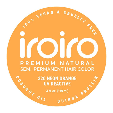 Hair Color - Iroiro 320 UV Reactive Orange Neon Vegan Cruelty-Free Semi-Permanent Hair Color