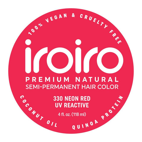 Hair Color - Iroiro 330 UV Reactive Red Neon Vegan Cruelty-Free Semi-Permanent Hair Color