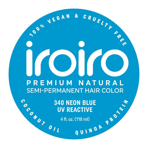 Hair Color - Iroiro 340 UV Reactive Blue Neon Vegan Cruelty-Free Semi-Permanent Hair Color