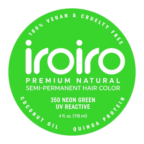Hair Color - Iroiro 350 UV Reactive Green Neon Vegan Cruelty-Free Semi-Permanent Hair Color