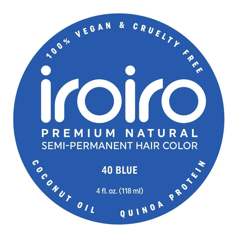 Hair Color - Iroiro 40 Blue Natural Vegan Cruelty-Free Semi-Permanent Hair Color