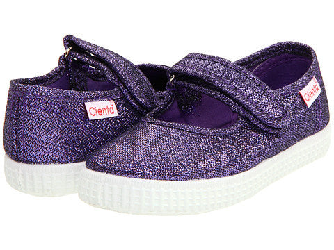 Cienta Girl's 56013 Purple Sparkle Mary Jane