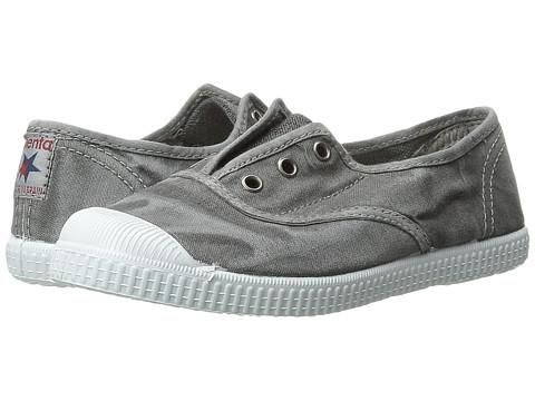Cienta Boy's and Girl's 70777 Distressed Light Grey Canvas Laceless Sneaker