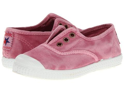 Cienta Girl's 70777 Distressed Pink Canvas Laceless Sneaker