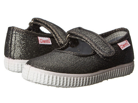 Cienta Girl's 56013 Gunmetal Sparkle Mary Jane